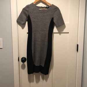 Black and Gray Colorblock Work Dress